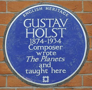 Gustav Holst - Blue plaque at St Paul's Girls' School, London