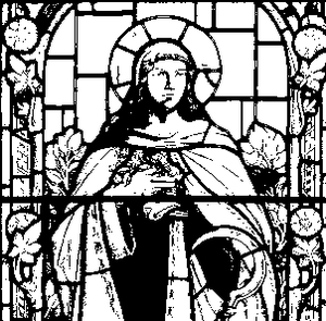 Urith - drawing of window in St Mary's Church, South Walsham, Norfolk England depicting Saint Urith.