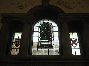 Henry Hare - Hare's trademark -a hare, bottom right in the middle stained glass, at Westminster College, Cambridge