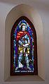 Stained glass window in the Galyatető Roman Catholic church with Saint Ladislaus.jpg