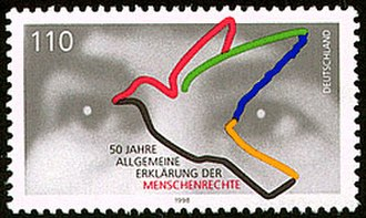 Human Rights Day - A 1998 postage stamp from Germany, commemorating the 50th anniversary of the Universal Declaration of Human Rights.