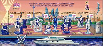 42nd Chess Olympiad - Stamps of Azerbaijan with motifs from the Olympiad
