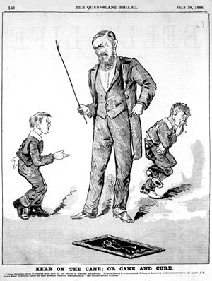 School corporal punishment - 1888 cartoon depicting J.S. Kerr, an Australian proponent of punishment by caning