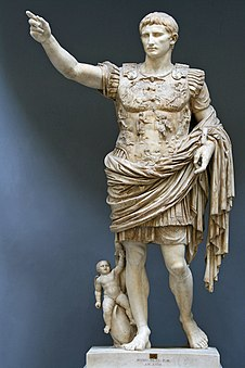 Statue of Caesar Augustus, outstretched arm pointing