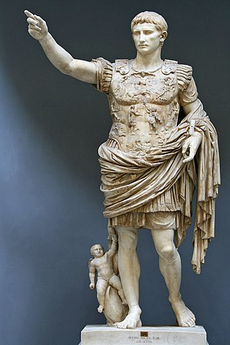 Bastarnae - Statue of Augustus in the garb of Roman imperator (military supreme commander). By the end of his sole rule (AD 14), Augustus had expanded the empire to the line of the Danube river, which was to remain its central/eastern European border for its entire history (except for the occupation of Dacia 105-275). Musei Vaticani, Rome