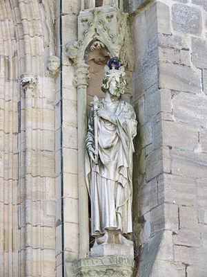 Tancred of Hauteville - Possible statue of Tancred of Hauteville on the north side of Coutances Cathedral. This is an 1875 replacement for a statue damaged in the French Revolution.