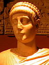 Statue of emperor Valentinian II detail