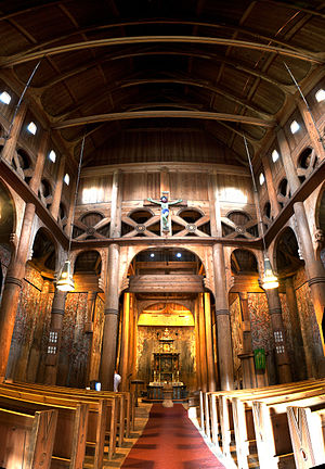 Heddal stave church - Interior of Heddal stave church.