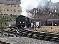 Steam train coming into Keighley station - geograph.org.uk - 1578459.jpg