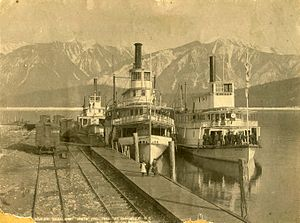 Minto (sternwheeler) - Rossland (in center), with Trail on left and Minto on right, between 1898 and 1900