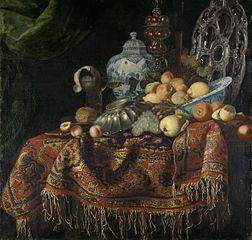 Nature morte aux fruits, plats sur un  tapis  turc
