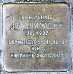 Photo of Joachim Wolff brass plaque