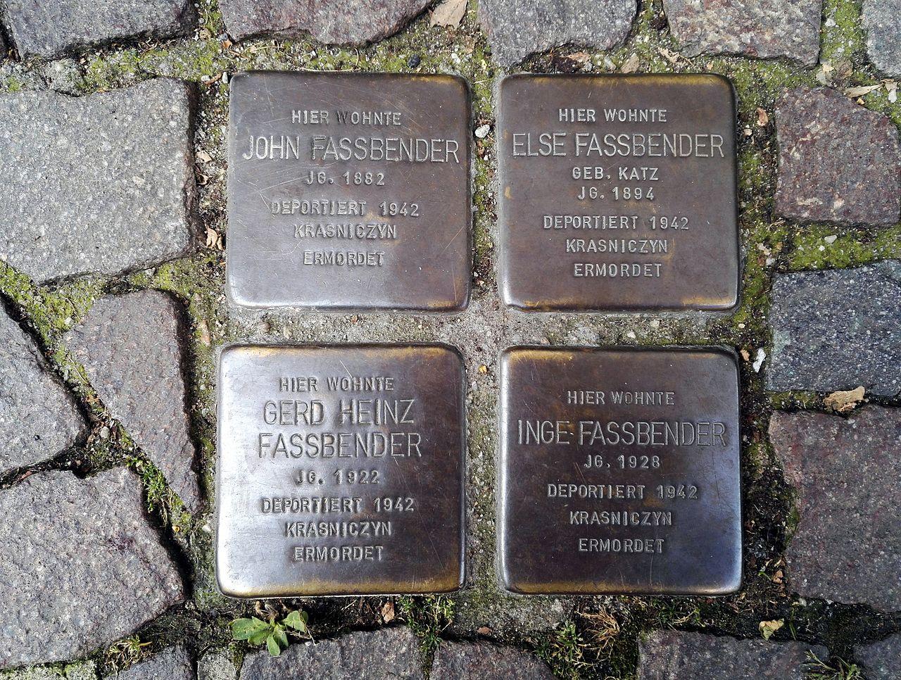 Stolpersteins John Fassbender, Else Fassbender, Gerd Heinz Fassbender, Inge Fassbender, Marktstraße 60, Remagen