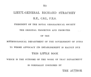 Richard Strachey - Dedication of 1889 meteorology department book by Henry Francis Blanford