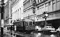 Streetcar westbound on 4th St west of Vine - Cincinnati, circa 1940s.jpg