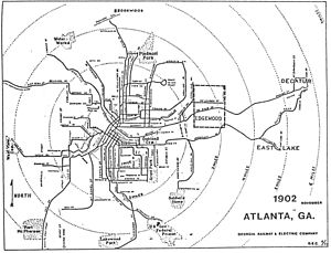 Virginia–Highland - 1902 map of Atlanta's streetcar network including Nine Mile Circle route
