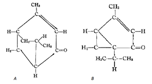 Umbellulone - Figure 2: (A) Strucutural formula according to Tutin, 1908. (B) Structural formula according to Semmller, 1908.