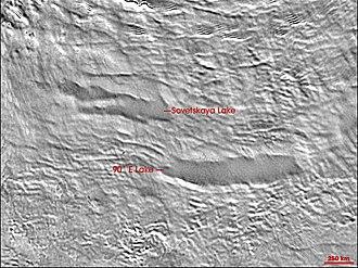 Subglacial lake - NASA MODIS image of two subglacial lakes in Antarctica.