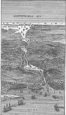 Grabado del canal de Suez (Egipto), realizado en 1881.
