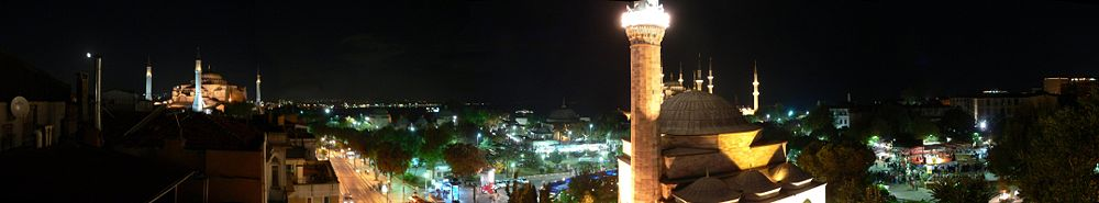 Panoramic view over modern Sultanahmet by night, with Hagia Sophia to the left and the Hippodrome in the middle (full image)