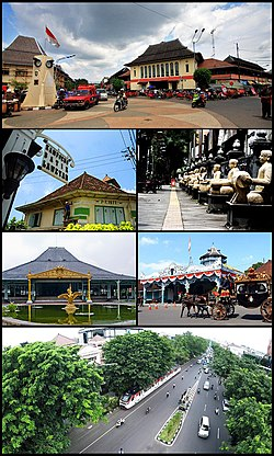Dari atas searah jarum jam: Pasar Gede Harjonagoro, Citywalk Ngarsopuro, Keraton Surakarta Hadiningrat, Jalan Slamet Riyadi, Pura Mangkunegaran, Kampung Batik Laweyan.