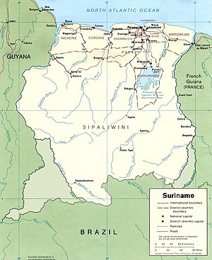 Borders of Suriname - Suriname with the disputed areas.