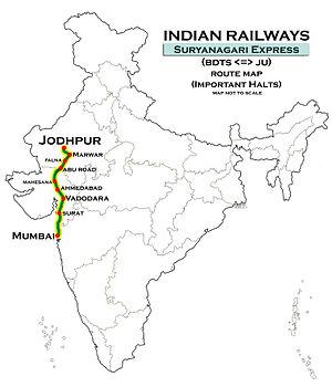 Suryanagri Express - Image: Suryanagri Express (Bandra Jodhpur) Route map