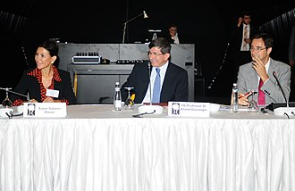 Ahmet Davutoğlu - Davutoğlu (C) at the Chatham House International Roundtable, İstanbul, September 2012 with Suzan Sabancı Dinçer (L) and Dr Robin Niblett (R)