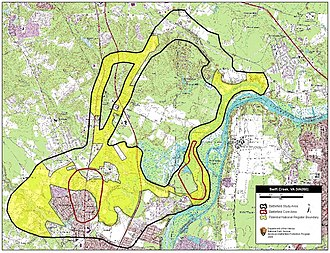 Battle of Swift Creek - Map of Swift Creek Battlefield core and study areas by the American Battlefield Protection Program.