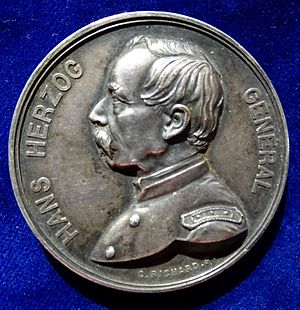 Hans Herzog - The uniformed portrait of Hans Herzog on a commemorative medal by Charles Jean Richard.