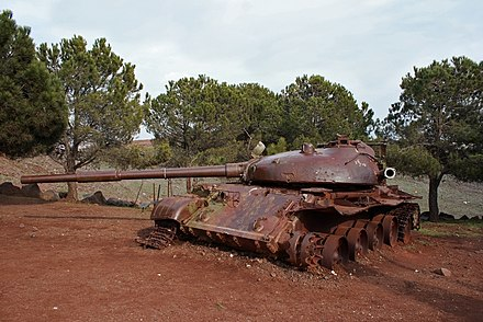 A destroyed Syrian T-62 stands as part of an Israeli memorial commemorating the battle of the 'Valley of Tears', Northern Golan Heights. T62-valley of tears.jpg