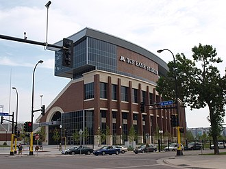 Minnesota Golden Gophers football - TCF Bank Stadium, photographed from the corner of University Ave and Oak St