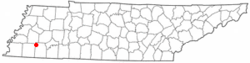 Location of Whiteville, Tennessee