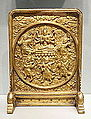 Table screen depicting the Taoist deity Doumu and her entourage, China, Ming or Qing dynasty, approx. 1500-1700 AD, gilt bronze - Asian Art Museum of San Francisco - DSC01647.JPG