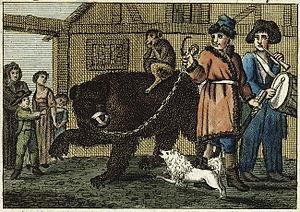 Ursari - Print showing of a dancing bear and its handlers in Hesse, ca. 1810