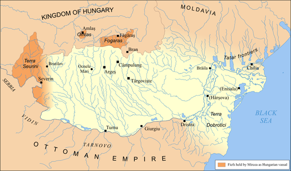 Territories held by Wallachian prince Mircea the Elder, c. 1390 Tara Rumaneasca map.png