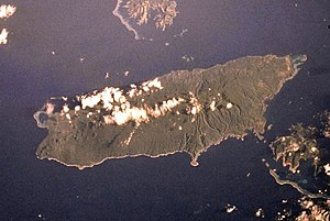 Mount Taveuni - NASA Space Shuttle image of Taveuni. Top of image is NW.
