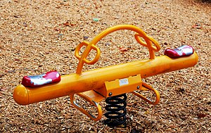 Seesaw - A seesaw or teeter-totter in a children's playground in Ottawa, Ontario, 2010