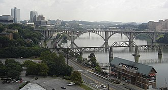 Tennessee River - The Tennessee River in downtown Knoxville from the top of Neyland Stadium
