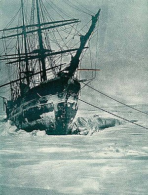 Rudolf Island - Ship marooned in the ice at Teplitz Bay, 1904