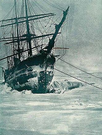 Rudolf Island - Ship marooned in the ice at Teplitz Bay, 1904