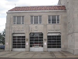Texarkana, Arkansas - The Texarkana Fire Department adjoins the Municipal Auditorium.