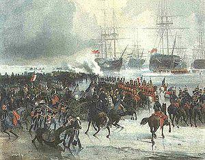 Capture of the Dutch fleet at Den Helder - Prise de la flotte Anglo-Batave, arrêtée par les glaces dans les eaux du Texel pendant l'hiver de 1795. by Charles Louis Mozin.
