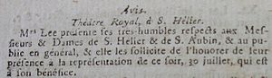 Theatre of Jersey - 30 July 1796: Mrs Lee advertises a performance of the (unidentified) Théâtre Royal, Saint Helier
