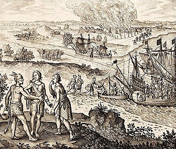 Il Rapimento di Pocahontas, incisione di Johann Theodore de Bry, c. 1618