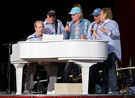 The Beach Boys during their 2012 reunion. From left: Brian Wilson, David Marks, Mike Love, Bruce Johnston, Al Jardine.
