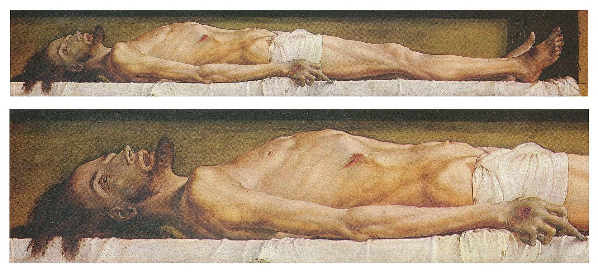 Der Leichnam Christi im Grabe und Detail. Öl und Tempera auf Lindenholz, 30,5 × 200 cm, Kunstmuseum Basel.