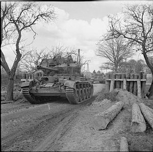 23rd Hussars - A Comet tank of the 23rd Hussars near Petershagen, Germany (7 April 1945)