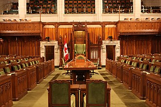 Jeanne Sauvé - The Canadian House of Commons, where Sauvé served as a Member of Parliament and later Speaker of the House, sitting in the chair at the far centre