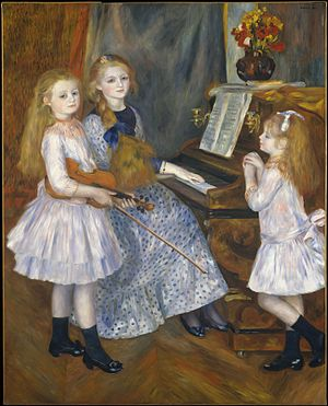 Catulle Mendès - A portrait of Mendès' daughters, Huguette, Claudine, and Helyonne, by Auguste Renoir, 1888, at The Metropolitan Museum of Art